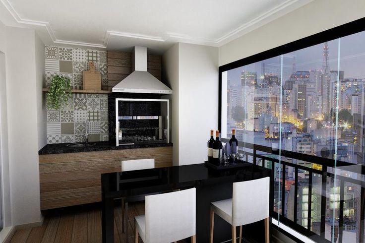 Apartamento Santana, SP. Varanda com churrasqueira, bancada e linda vista para a cidade.#projetolilianazenaro #varanda #churrasqueira #churrasqueiranavaranda #areagourmet #varandaapartamento