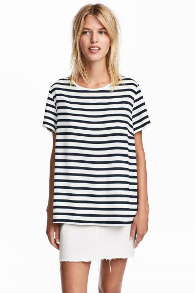 Bluzka z krótkim rękawem - Biały/Niebieskie paski - ONA | H&M PL