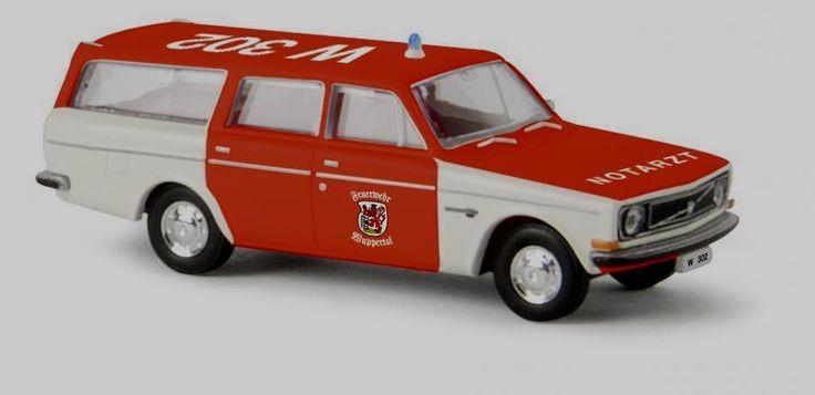 "wonderful ambulance-modelcar VOLVO 145 WAGON ""Feuerwehr Wuppertal"" 1971 - 1/87 #BREKINA #VOLVO"