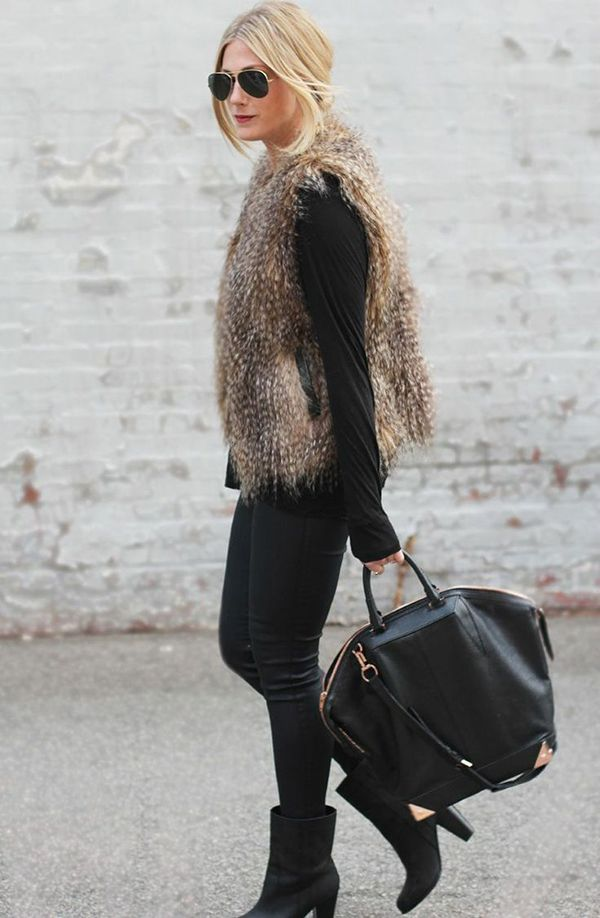 a brown fur vest looks so effortlessly chic with an all-black ensemble