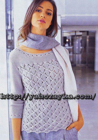 Пуловер с узором листья - схема вязания + фото и описание | Я Хозяйка