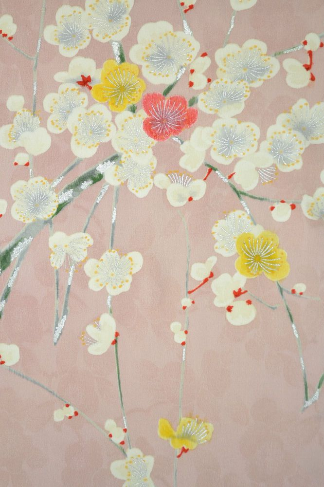 VINTAGE SILK KIMONO FABRIC:Charming Plum Blossom@T13