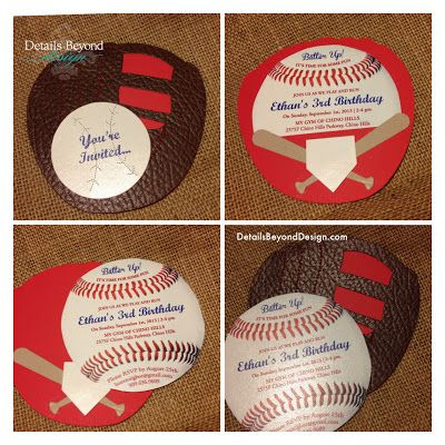 Die Cut Baseball Birthday Party Invitations Features Glove With Hand Stitching And On The Front A Pocket Th