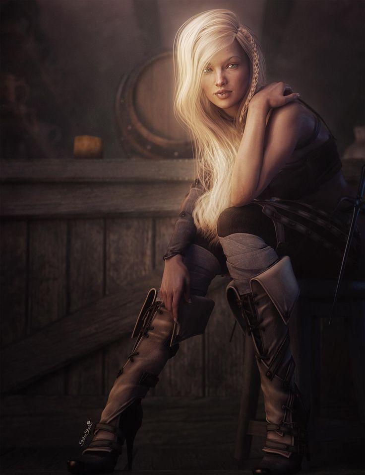 Blonde Fantasy Girl Pin-up