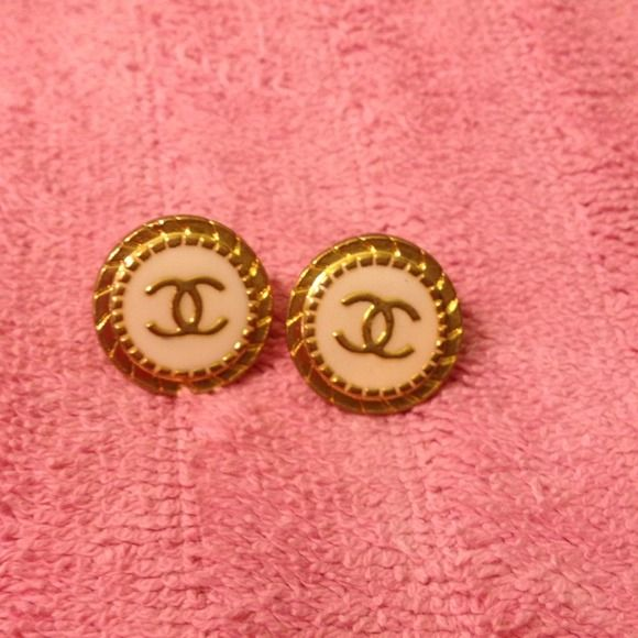 Chanel stud earrings These are super fun with the Chanel logo.. They look vintage, I picked them up at an estate sale I do not think they are real but cute nonetheless! Xo CHANEL Jewelry Earrings