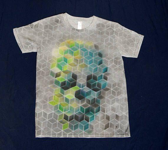geometric skull hand-painted t-shirt