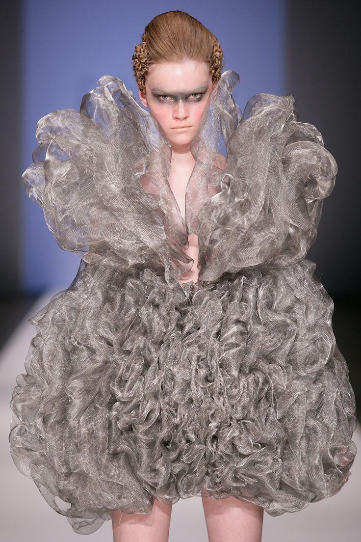 "Sculptural Fashion - conceptual fashion design - beautiful & poisonous industrial smoke, sculpted from woven metal gauze to create amazing 3D ""wearable smoke"" // ""Refinery Smoke,"" Iris van Herpen"