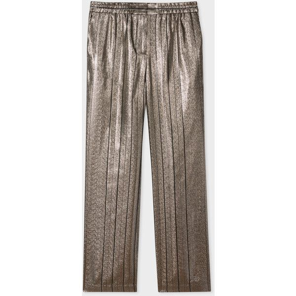 PS Paul Smith Women's Metallic Pin-Stripe Wide Leg Trouser ($295) ❤ liked on Polyvore featuring pants, gold, zipper trousers, brown trousers, striped wide leg pants, brown pants and metallic trousers