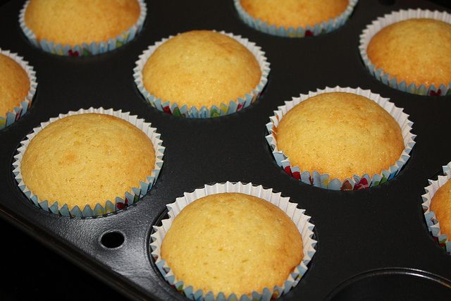 Cup cake recepie and blue frosting. Warning: I made this and it only makes barely 12 cupcakes. Not 24.