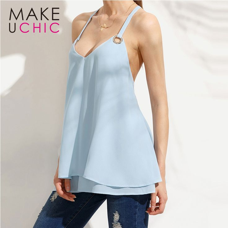 MAKEUCHIC Apparel Solid Blue Cami Tops Women Casual Sexy Backless Chiffon Female Tank Tops Off Shoulder Streetwear Lady Tees #Affiliate