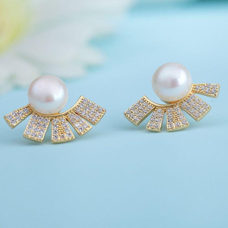 Enumu Gold plated Diamond Pearl Studs Earrings