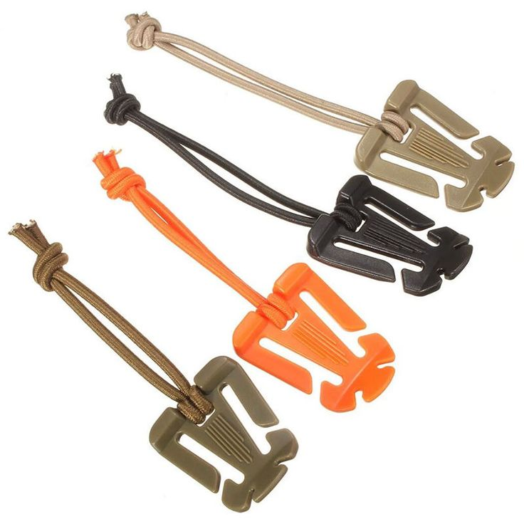 10x Molle Webbing Tactical Cord Clips Buckle Elastic Tie-down Strap Carabiner