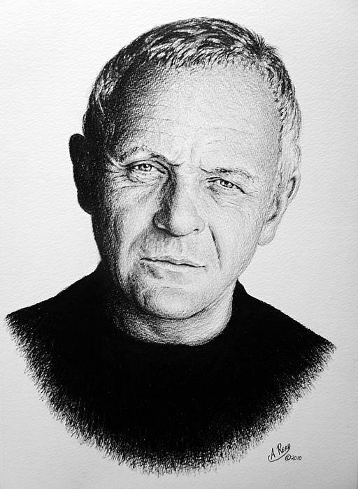 Anthony hopkins Graphite sketch on water color paper