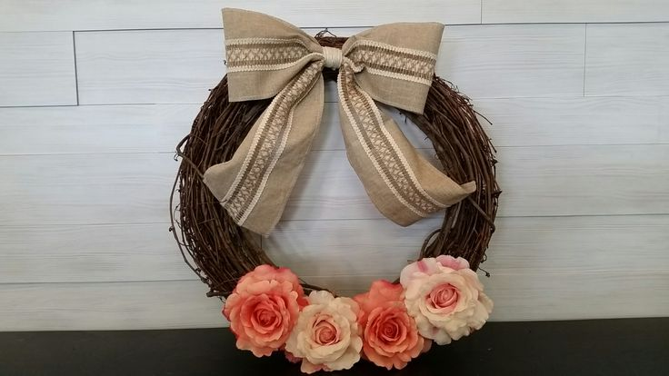 Grapevine Wreath with Burlap Bow and Two-Tone Pink Roses #grapevine #wreath #burlap #roses #wreathideas #goldenforrest #goldenforrestcreations