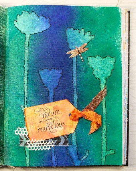 Art journaling with Darkroom Door Wildflowers stencil