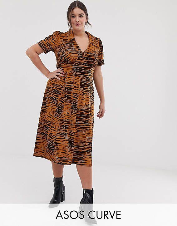 baa2b9d78fc DESIGN Curve animal print midi tea dress in 2019