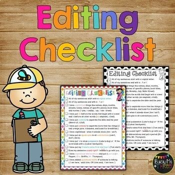 This is great for daily edit or writing. I have used this with my first graders and second graders. I have a poster up of this. Some teachers give one to each student. This includes things like remembering capitals, periods, apostrophes, friends names first and then I, quotation marks, and more!