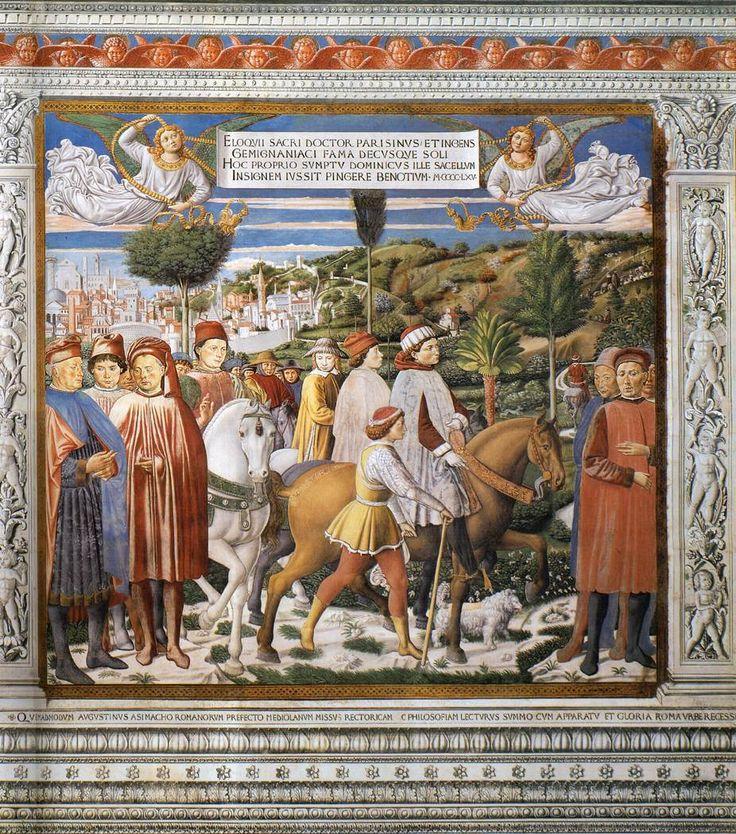 ❤ - BENOZZO GOZZOLI (1421 - 1497) - St. Augustine - St. Augustine Departing for Milan. 1464-65. Fresco. 220 x 230 cm. Apsidal Chapel of Sant' Agostino, San Gimignano, Italy.