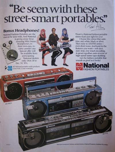National boom box ad - 1985 by ✎☁Iron Lace☁✎, via Flickr. Notice the double tape players.