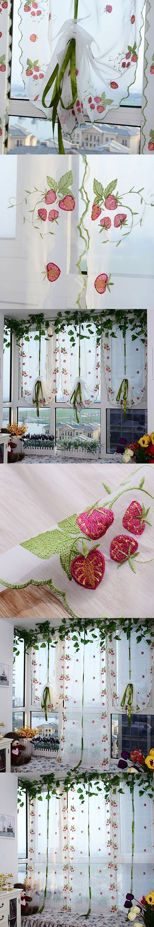 Sweet Embroidered Strawberry Tulle Window Screen Door Balcony Curtain Sheer