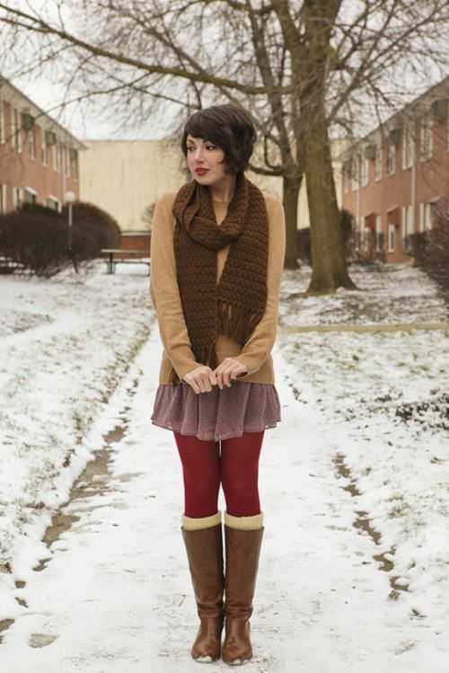cute stockings, boot socks and skirt with sweater for fall. Plus, I LOVE the hair!