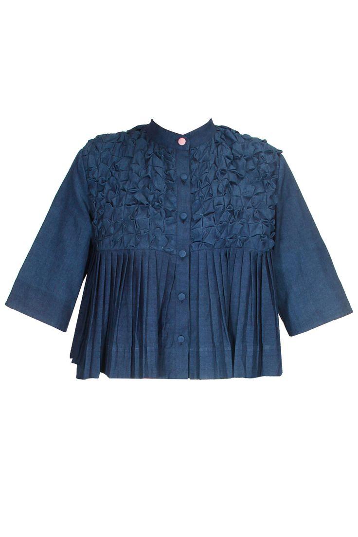 Indigo blue handwoven smocked tri jacket available only at Pernia's Pop Up Shop..#perniaspopupshop #shopnow #happyshopping #designer #newcollection #winterfestive #clothing #KaSha