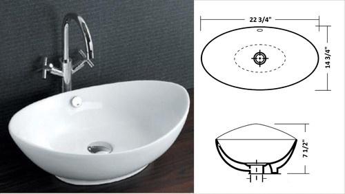 ... Sinks PL 3002 23 x 15 Oval x 7 1 2 Deep White Porcelain Vessel Sink