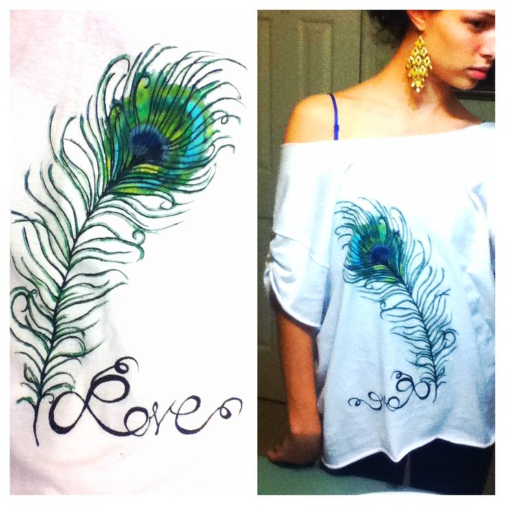 DIY tshirt. Hand painted peacock feather with watered down acrylic paint.