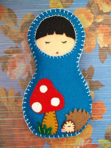 Felt Matryoshka Russian Doll - ditch the mushroom - Christmas ornament?