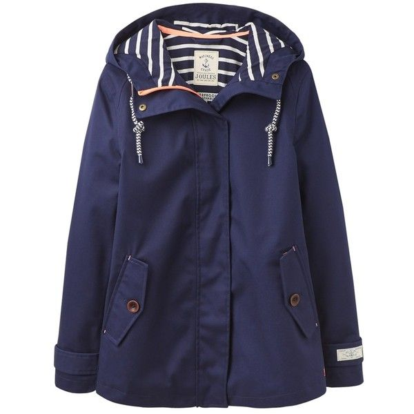 Women's Joules Coast Waterproof Hooded Jacket ($58) ❤ liked on Polyvore featuring outerwear, jackets, nautical jacket, waterproof jacket, joules jacket, water proof jacket and evening jackets