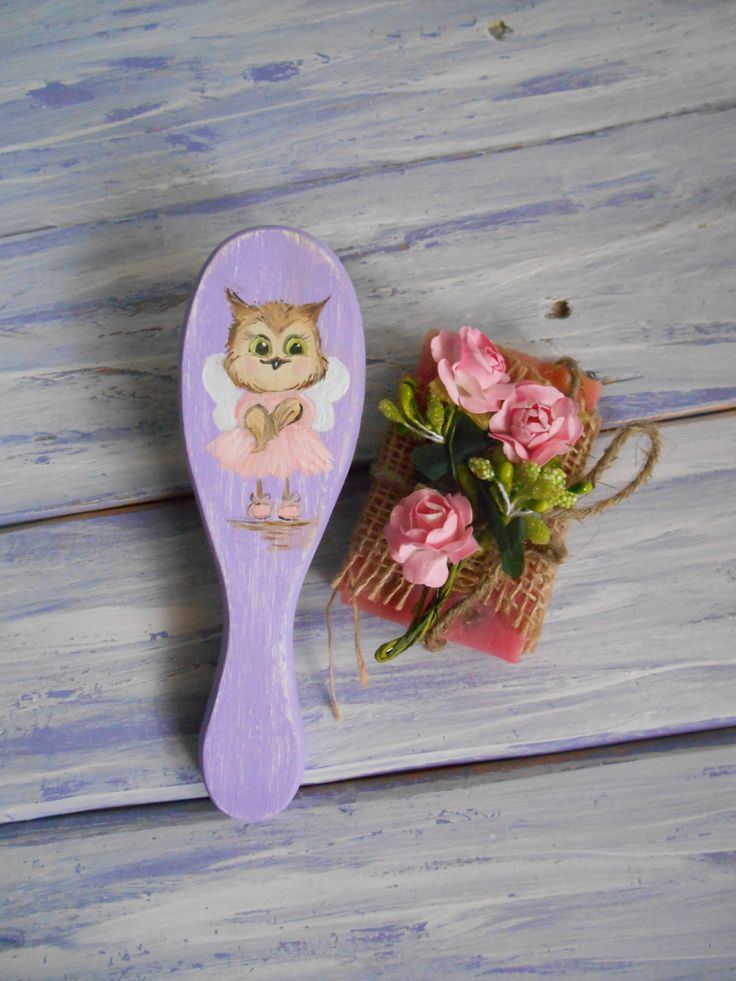 Handpainted wood comb Hair wooden comb Wood combs Purple hair brush Owl angel Decorative comb Handmade wood decor Sister gift Vanity decor by MilaPollyart on Etsy