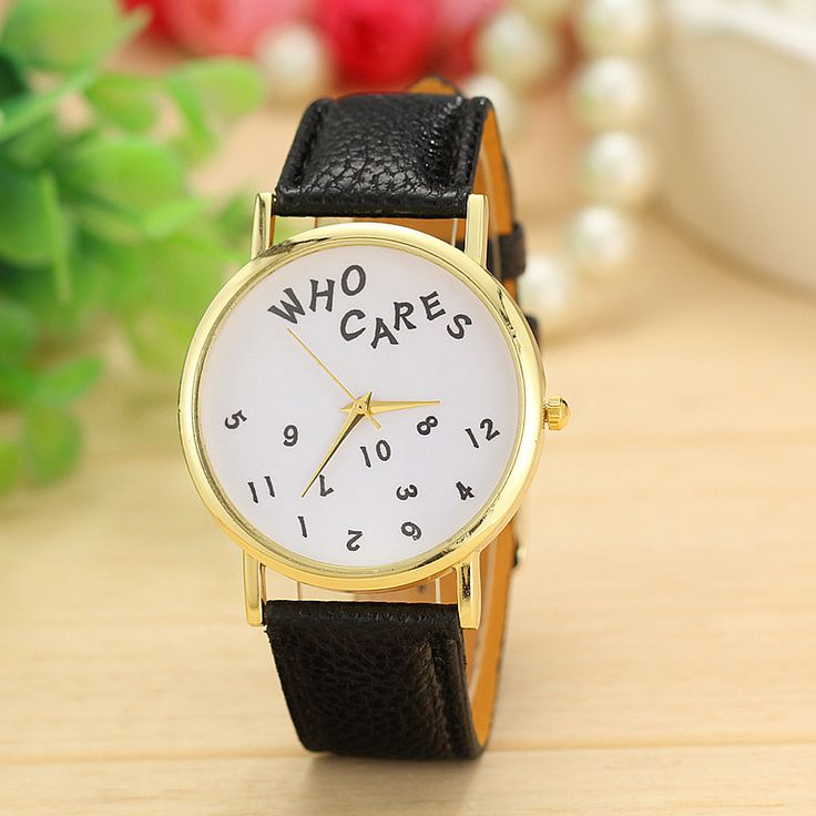 WHO CARES - ladies casual watch leather band in black