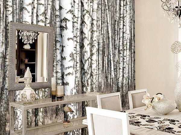 Rooms with wallpaper dining room with tree wall mural for Tree wallpaper living room