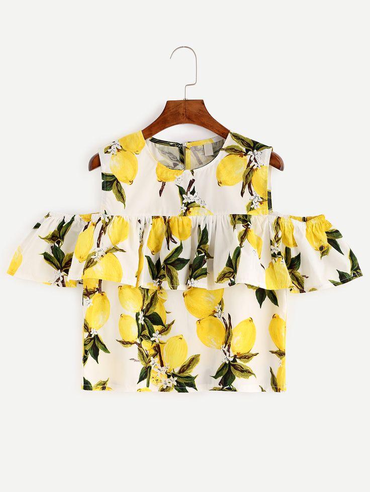 Shop White Lemon Print Cold Shoulder Ruffle Top online. SheIn offers White Lemon…