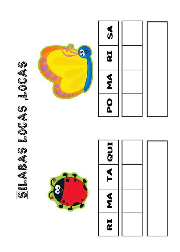 Actividades para imprimir Pon las sílabas en orden. http://pequescuela.com/actividades-preescolar-imprimir-silabas-locas14.html