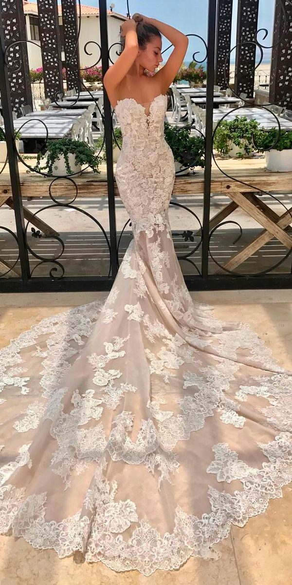 27 Mermaid Wedding Dresses You Admire ❤ lace mermaid wedding strapless sweetheart neckline with train dresses enzoani ❤ See more: http://www.weddingforward.com/mermaid-wedding-dresses/ #weddingforward #wedding #bride