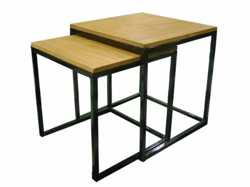 mesa ratona x 2 nido cubo auxiliar arrime hierro y madera