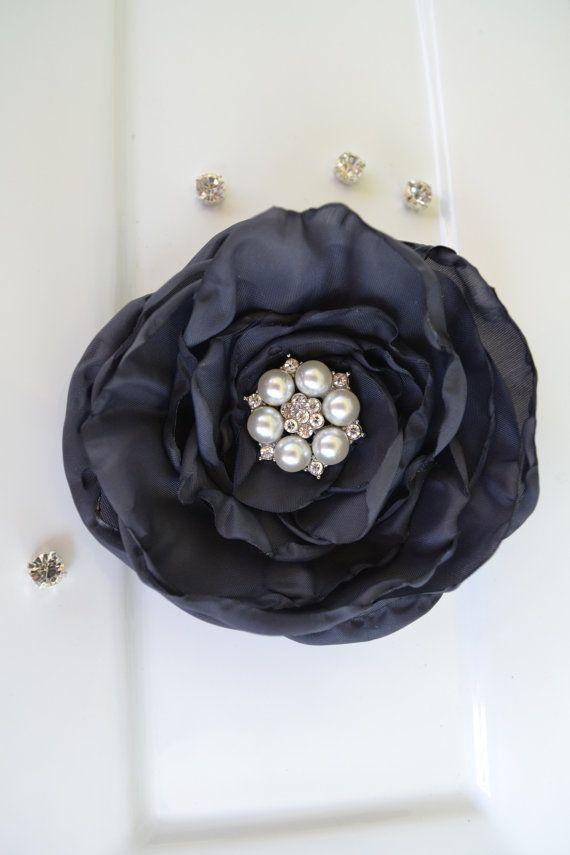Bridal hair accessories Charcoal grey by FlowersAndConfetti