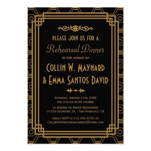 "Art Deco Rehearsal Dinner Invitations 3.5"" X 5"" Invitation Card"