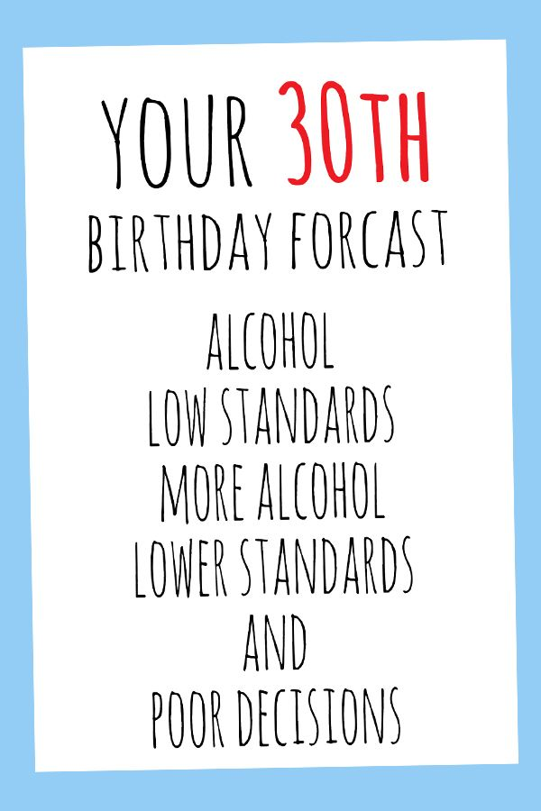 30th Birthday Card Digital Printable Card 30th Birthday Cards Funny Birthday Cards Birthday Cards