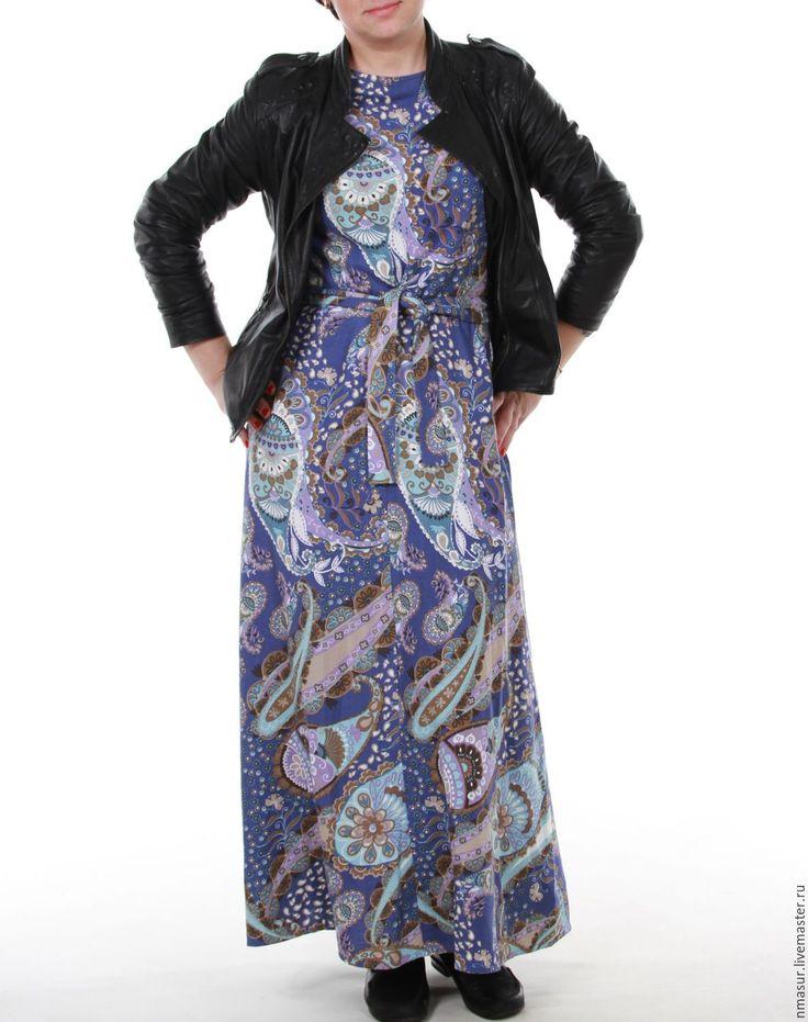 """Купить Платье в пол """"Голубой пейсли"""" - пейсли, платье летнее, платье в пол, стильное платье"""