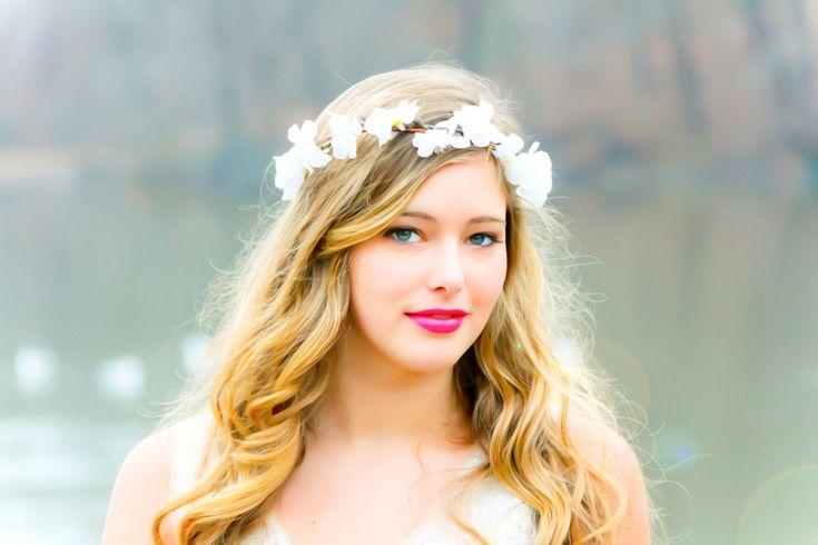 flower hair, bridal flower crown, wedding headpiece, hair accessories, flower girl. $30.00, via Etsy.