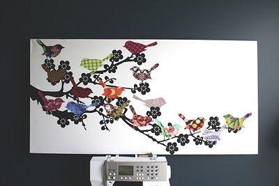 Use scrap fabrics on canvas for a beautiful wall hangingCanvas Artworks, Birds Wall Art, Fabrics Scrap, Canvas Wall Art, Diy Wall Art, Fabrics Birds, Scrap Fabrics, Chase Cotton, Fabric Scraps