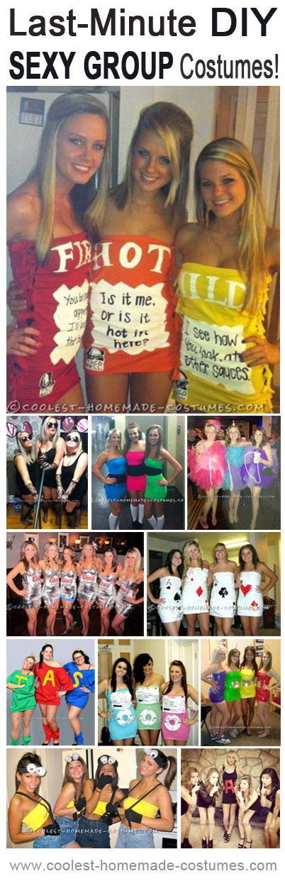 Last-Minute Sexy Group Homemade Costume Ideas! Enter the Coolest Halloween Costume Contest at http://ideas.coolest-homemade-costumes.com/submit
