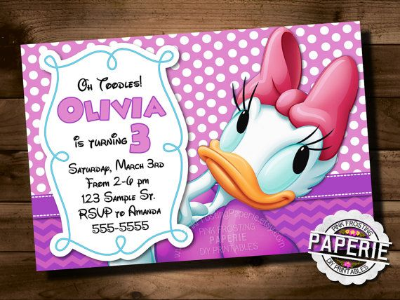 DAISY DUCK Birthday INVITATION Polka Dot by PinkFrostingPaperie