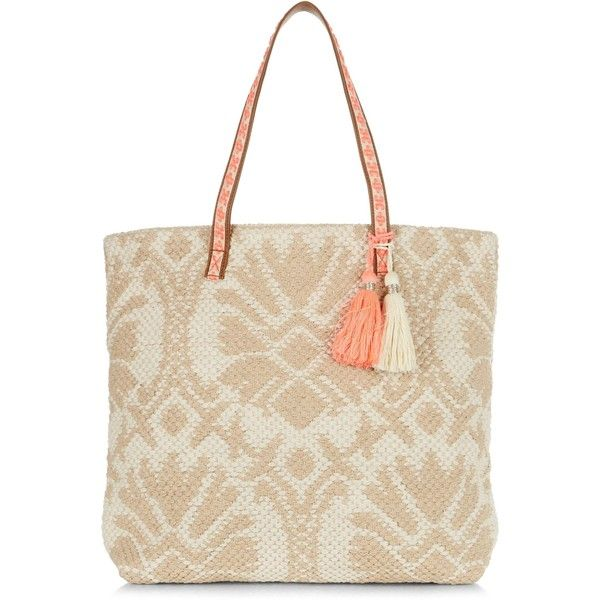 New Look Camel Abstract Woven Beach Bag (96 PEN) ❤ liked on Polyvore featuring bags, handbags, camel, beach bag, woven purse, braided purse, white beach bag and camel purse