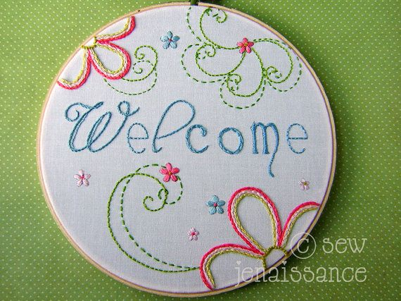 -Embroidery Pattern PDF  Welcome Flower Spirals by sewjenaissance