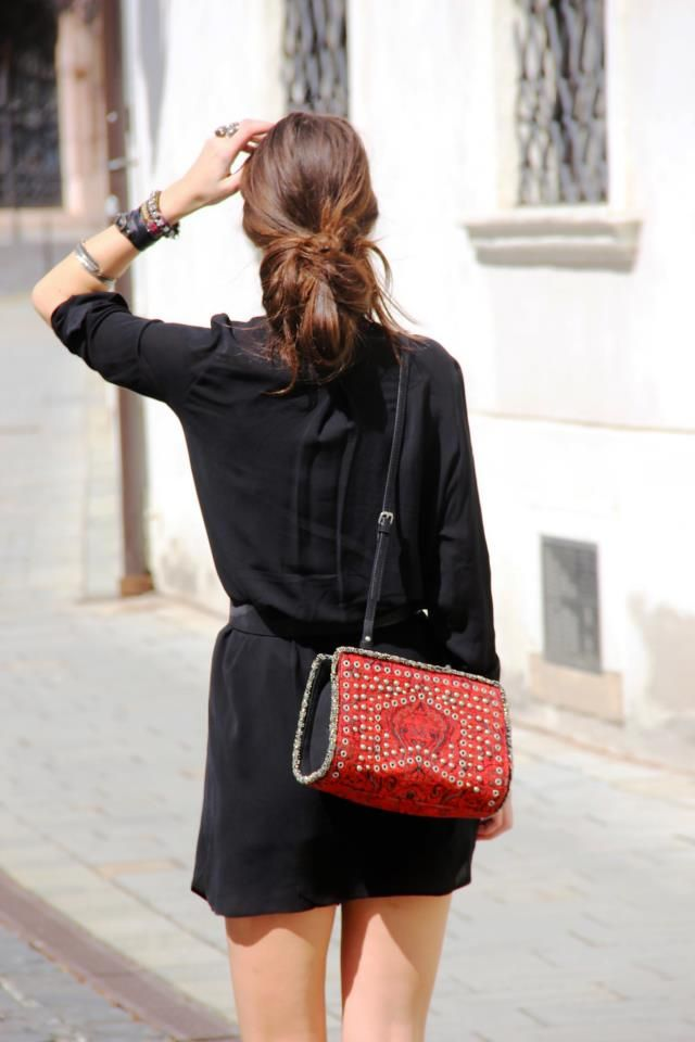 black on black + red bag.