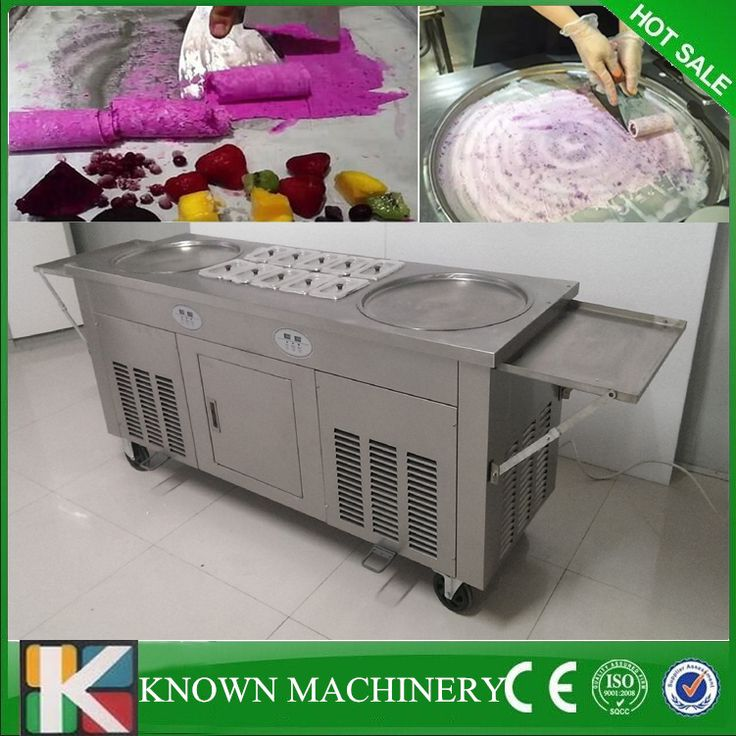 Free shipping double pans with 10 cooling food tanks thaniland fried fry roll fry ice cream machine //Price: $US $1580.00 & FREE Shipping // #homeappliance24