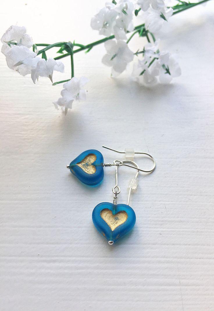 Heart drop earrings, blue heart earrings, sterling silver sweetheart earrings, love heart earrings, blue gold earrings by ShereesTrinketBox on Etsy